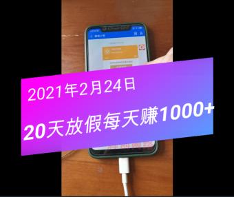 过年放假20天,却可以每天赚1000+的项目出炉,收入展示(21年2月24日)